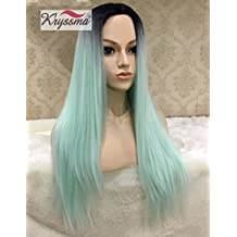 K'ryssma Ombre Mint Green 2 Tones Dark Roots None Lace Synthetic Wigs Natural Long Staight Wig For Women Middle Part Full Machine Made Wigs for Cosplay Heat Resistant 22 Inches