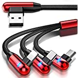 Multi Charging Cable, CAFELE Right Angle 90 Degree 3 in 1 Cable with LED Light Nylon Braided Universal USB Charger Cord with Micro USB/Type C Port Compatible Cell Phones Tablets, etc - Red/4.3ft
