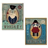 Nauticalボストンマサチューセッツ州Fisherman古い塩Whiskeyによって設定Ryan Fowler ; 2つ11x 14in Unframed紙ポスター