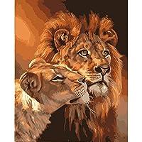 LovetheFamily 数字油絵 数字キット塗り絵 手塗り DIY絵 デジタル油絵 カップルライオン 40x50cm ホーム オフィス装飾