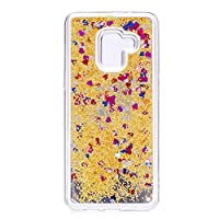 Galaxy A8 2018ケース 鏡付き 薄型 透明 クリアなシリコンケース 光沢のある液体ハート型キラキラ&クイックサンド ハードバックケース Samsung Galaxy A8 2018用 (カラフル & ゴールデン)