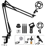Upgraded Adjustable Microphone Suspension Boom Scissor Arm Stand with Shock Mount Mic Clip Holder 3/8'' to 5/8'' Screw Adapter -for Blue Yeti, Snowball & Other Microphones (stand with adapter)