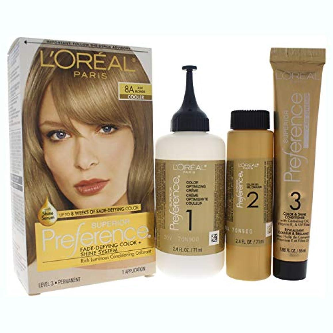 冊子病んでいる宅配便L'Oreal Paris 県Haircol 8Aサイズ1CTロレアルプリファレンスヘアカラーアッシュブロンド#8(a)