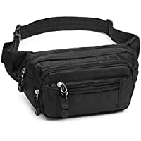 F-color Fanny Pack, Waterproof Fanny Pack for Men Women with Cover 5 Zipper Pockets Waist Pack Bag for Travel Hiking Running Hip Bum Bag