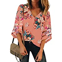 LookbookStore Women Pink Floral Print Tops for Women V Neck Casual Mesh Panel Blouse 3/4 Bell Sleeve Loose Top Shirt Size L(US 12-14)