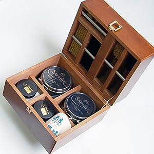 [サフィールノワール] スープリーム シューケアセット 靴磨き Box ギフト 木製 4900410000 ― Free