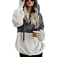 Dokotoo Womens Fuzzy Casual Loose Sweatshirt Hooded Pockets Outwear S-XXL