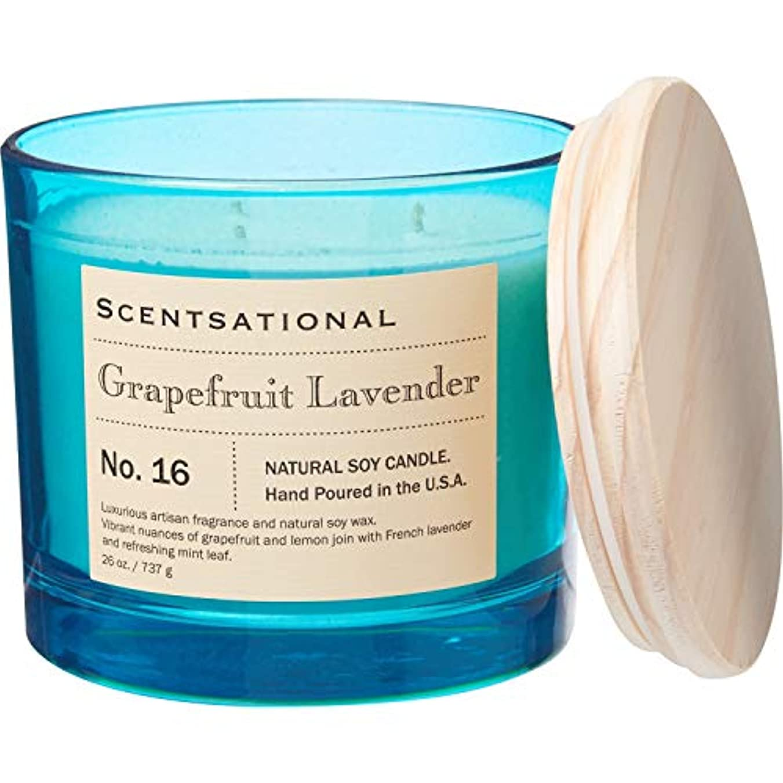 全滅させる女性全くScentsational グレープフルーツ ラベンダー アポセカリー ソイキャンドル 芯3本 26オンス