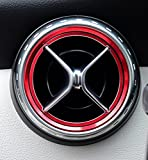 【SANCTUS】 メルセデス ベンツ W176 Aクラス Bクラス GLAクラス CLAクラス フロントエアコン吹き出し デフォッガーベゼルカバー 通気口カバー 空調口カバー 空調カバー カスタムパーツ インテリアパーツ (赤(内側+外側リング))