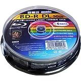 磁気研究所 HIDISC ブルーレイディスク BD-R DL 2層式 1回録画用 260分 50GB 1-6倍速 スピンドルケース 10枚パック ワイド印刷対応 ホワイトレーベル HDBD-RDL6X10SP
