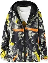 Keaac メンズカジュアル風防のヒップホップの迷彩柄のフード付きのジャケットのコート