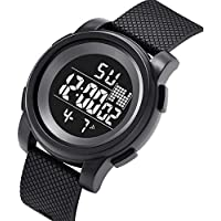Mens Digital Electronic Watch, Outdoor Sports Running Watch, Waterproof Casual Watch, Multi Function Personalized Leisure Watch, Military Watches with Alarm Timer Calendar, Black