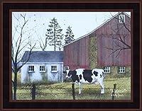 Holstein by Billy Jacobs 15x 19Cow Barnファーム国プリミティブFolk Art印刷壁飾りフレーム入り写真