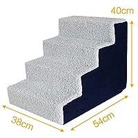 4ステップ ペットの階段,ぬいぐるみ ドッグステップ ソフト 犬の階段 アンチ スリップ ソファーベッドの梯子 スポンジ ソファーランプ ホーム-グレー 54x38x40cm(21x15x16inch)
