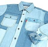 20832 【秋冬】 長袖 デニム シャツ パッチワーク 胸ポケット付き ANGELO アンジェロ ライトブルー(水色) サイズM【紳士服/メンズ/男性用】