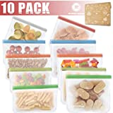 Kitchwise Reusable Food Storage Bags (10 Pack Snack andLunch Sized) Kids Snacks Resealable Freezer Fruit Extra Thick Leakproof Travel Items