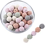 Promise Babe 40 Pieces Wooden Crochet Beads 16mm Wood Beads Handmade Handmade Mobile Bed Mary Home Decor Gift