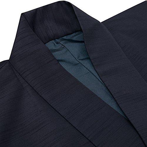 d00291b3c1d64f ... [キョウエツ] 羽織 洗える 袷 無地 紬生地 単品 メンズ (S, 紺) ...