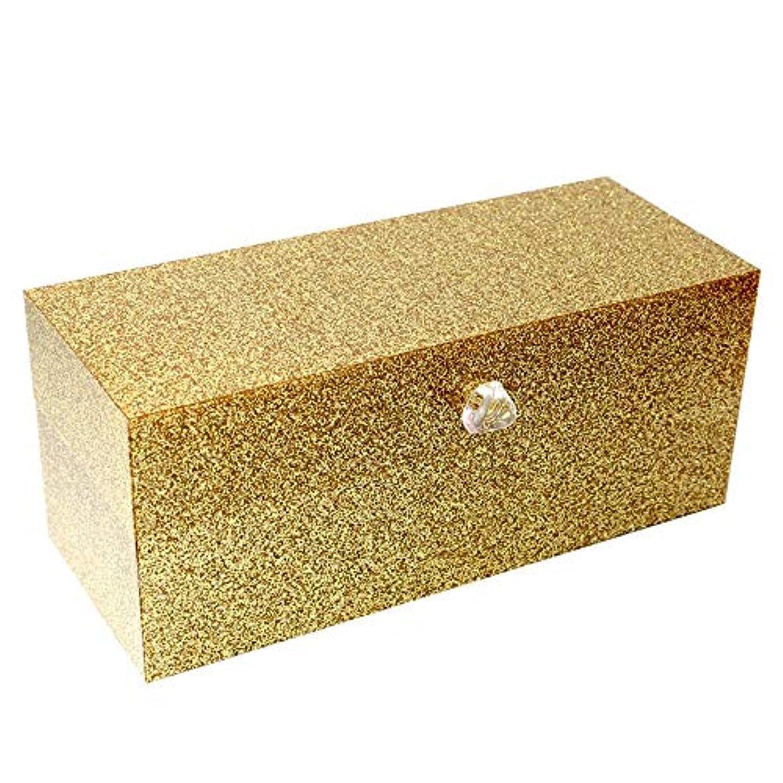 つなぐうるさい小麦粉整理簡単 口紅のアクリルの付属品を収納するための24のコンパートメントが付いている簡単な構造の貯蔵ふたが付いているオルガナイザー(金) (Color : Gold, Size : 23*9.5*9.2CM)