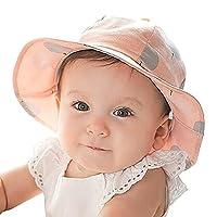 c89e601a3d8f4 京都 おかげさまで ベビーハット 赤ちゃん 帽子 紫外線 防止 ツバ広 ハット 女の子 男の子 綿 100% UVカット (帽子ピンク)