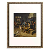 Dusart, Cornelis 「Interior of a Tavern with Farmers Playing Backgammon and Cards. 1679」 額装アート作品