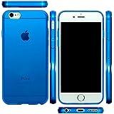 mtmd.jp iphone アイフォン 各種 対応 衝撃吸収 TPU ハード シリコン ケース カバー シンプル 透明 クリア つるつるタイプ (iPhone 7, ブルー)