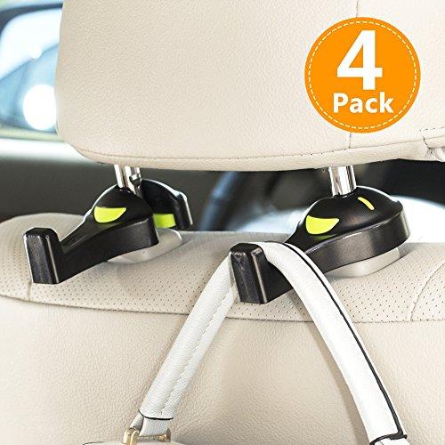 車用収納フックシートフック -耐荷重8kg 買い物袋の荷崩れ防止 汎用 (黒 4個セット)
