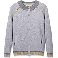 CUNYI Boys' Button-up Cardigan Crewneck Cotton Knit Sweater Casual Outerwear with Pockets