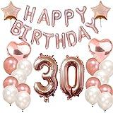 Funpa 誕生日 風船 バルーン 番号 101cm お祝い パーティー デコレーション 豪華セット 掛け飾り ローズゴールド アルミ箔 ラテックス (30歳)