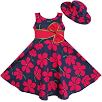2 Pecs Girls Dress Sunhat Bow Tie Flower Summer Beach Kids Clothing