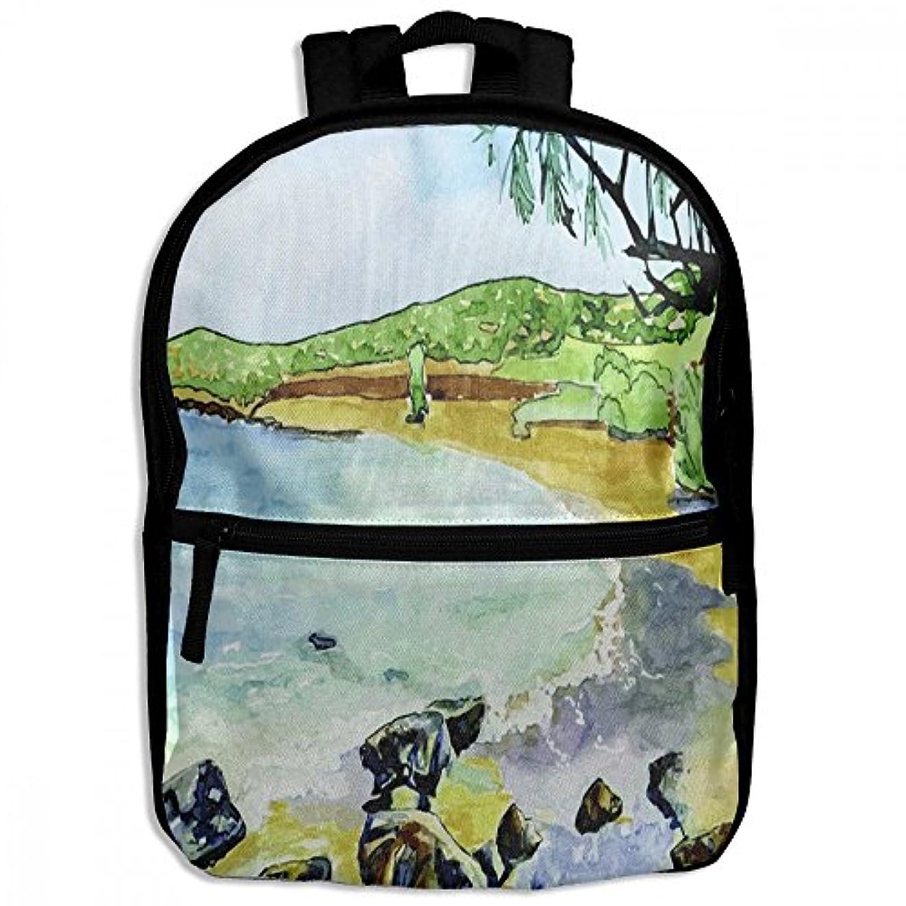 有害な狼動的キッズバッグ キッズ リュックサック バックパック 子供用のバッグ 学生 リュックサック 自然 風景 油彩絵 アウトドア 通学 ハイキング 遠足