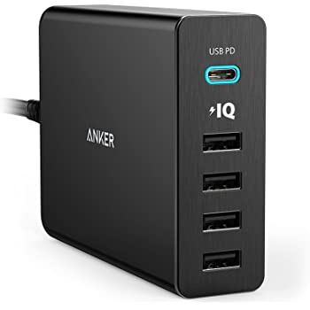 Anker PowerPort+ 5 USB-C Power Delivery (60W 5ポート Power Delivery搭載 USB&USB-C 急速充電器) 新しいMacBook / iPhone / iPad / Android 各種他対応 (ブラック)