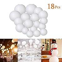 Round Paper Lanternsホワイトランプシェードwith各種サイズ、18パックHanging Decorationsのクリスマス結婚式誕生日ホームデコレーション、パーティ