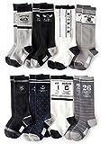 男の子 靴下 モノトーンが合わせやすい カジュアルなトラッドデザインハイソックス 8足セット 15-19cm 20-24cm対応 子ども ソックス キッズ (15-19cm)