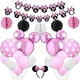 誕生日飾り付け 可愛いミニー ピンク ディズニー HAPPY BIRTHDAYバナー ハニカムボール ヘアバンド ラウンドドットアルミ ラテックスバルーン 女の子 子供 100日 半歳 1歳 12歳誕生日飾り イベント飾り 部屋装飾