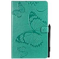 JDDR タブレットケース、 蝶の花の花柄PUレザーウォレットスタンドタブレットケースサムスンギャラクシータブA 10.5インチ2018 SM-T590 / T595 (色 : 緑)