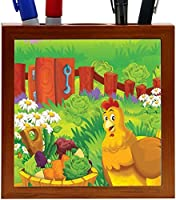 Rikki Knight Cute Rooster Cartoon with Farm Vegetables Design 5-Inch Tile Wooden Tile Pen Holder (RK-PH44601) [並行輸入品]