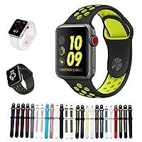 For Apple Watch バンド シリカゲル アップルウォッチNike+ / New apple watch series1/2/3/4用のアップルウォッチバンドとアップルウォッチ 対応 40MM 44MM シリカゲルバンド スポーツシリコンストラップリストバンド交換バンド柔らか運動型 (44MM-M/L, 黒+黄)