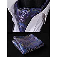 HISDERN Wedding Ascot Ties for Men Elegant Paisley Floral Jacquard Woven Cravat Tie and Pocket Square Set
