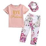 ベビー 子供服 綿 Tシャツ ロングパンツ ヘッドバンド 花柄 3点セット 超柔らかい 可愛い 女の子 出産祝い 普段着 (100)