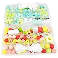 Mamimami Home 歯固め おしゃぶり DIYセット2個 長方形のプラスチックボックス 看護ネックレス 赤ちゃんのおもちゃ ママ授乳ジュエリー はがため チュアブルおしゃぶり 誕生日プレゼント [BPAフリー][FDA認可済]