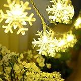 BigFox スノーフレークライト 2.5m 20LED電球 電池式 スノー クリスマス飾り 装飾的なイルミネーション 雪 結晶 LEDストリングライト