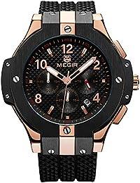 メンズスポーツクォーツウォッチクロノグラフ24時間アナログ表示腕時計Manボーイズ ローズゴールド