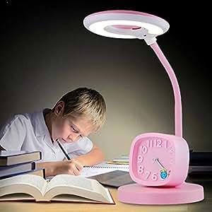 子供は机のランプを習う漫画のかわいい目のランプLED学生生活机読書研究ベッドサイド小さな目覚まし時計男の子と女の子のためのテーブルランプ ( 色 : ピンク ぴんく )