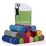 VACNITE クールタオル 速乾タオル 超吸水 軽量 速乾 熱中症対策 100×30cm 1枚 7色選択可能 防水袋付き (グリーン)