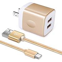 「2ポートUSB充電器*1個+USB Type-Cケーブル1m*1本」Viviber USB充電アダプター 急速充電器…