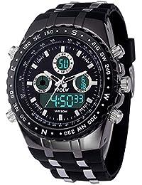 FIZILI 1389 腕時計 メンズ腕時計 シリカゲル腕時計 石英 電子ダブル顕 スポーツ LED メンズ