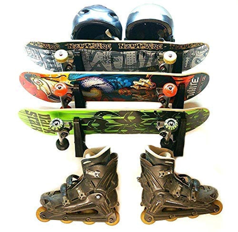 Maxfind 水平スケートボードウォールラックストレージウォールハンガー スケートボード/ロングボード/スキー/フィッシングロッドのため (3組) …