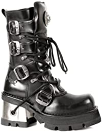 New Rock Shoes - Ladies Classic Black Leather Boots with Metal Heels