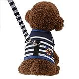 Austrake 犬用ハーネス リード2点セット ペット服 犬服 小型犬 ドッグウェア 4サイズ選択可能